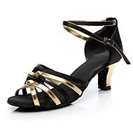 baratos Sapatilhas de Dança-Mulheres Sapatos de Dança Latina Seda Salto Salto Personalizado Personalizável Sapatos de Dança Preto e Dourado / Interior