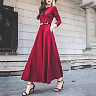 فستان نسائي متموج أناقة الشارع طويل للأرض لون سادة خصر عالي مناسب للحفلات مناسب للخارج / فضفاض