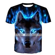 economico -T-shirt - Taglie forti Per uomo Essenziale Con stampe, Animali Rotonda Blu / Manica corta / Estate / Taglia piccola