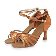 baratos Sapatilhas de Dança-Mulheres Sapatos de Dança Latina Seda Salto Cadarço de Borracha Salto Agulha Personalizável Sapatos de Dança Castanho Escuro / Nú / Couro