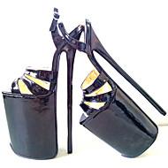 baratos Sapatos Femininos-Mulheres Sapatos Couro Ecológico Verão Plataforma Básica Saltos Salto Agulha Dedo Aberto Preto / Vermelho / Festas & Noite