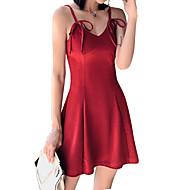 女性用 ストリートファッション Aライン シース ドレス - リボン, ソリッド ミニ