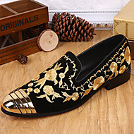 baratos Sapatos Masculinos-Homens Impressão Oxfords Seda / Pele Napa Primavera / Outono Conforto / Temática Asiática Mocassins e Slip-Ons Dourado