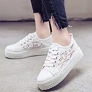 baratos Sapatos Femininos-Mulheres Renda Primavera / Outono Conforto Tênis Sem Salto Branco / Preto