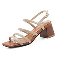 Mujer Zapatos PU Verano Anillo Frontal Sandalias Tacón Cuadrado Negro / Plateado 5akNrUIDGu