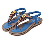 baratos Sapatos Femininos-Mulheres Sapatos Couro Ecológico Primavera / Verão Inovador / Chanel Sandálias Sem Salto Ponteira Tachas Azul / Rosa claro / Amêndoa