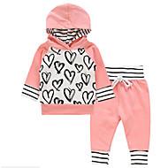 مجموعة ملابس كم طويل بقع / طباعة مخطط / طباعة للفتيات طفل صغير / جميل