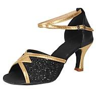 baratos Sapatilhas de Dança-Mulheres Sapatos de Dança Latina Paetês / Courino Salto Lantejoulas / Presilha Salto Cubano Personalizável Sapatos de Dança Preto