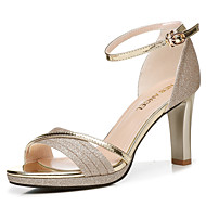 cheap -Women's Shoes Synthetic Microfiber PU Summer / Fall Gladiator / Basic Pump Sandals Chunky Heel Gold / Silver / Party & Evening