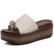 Mujer Zapatos Piel / PU Primavera / Otoño Confort Zapatillas y flip-flops Media plataforma Negro / Gris / Borgoña 4b6qK61H6s