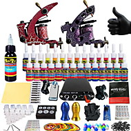 billige Tatoveringssett for nybegynnere-Tattoo Machine Startkit - 2 pcs tattoo maskiner med 14 x 5 ml tatovering blekk, Profesjonell Mini strømforsyning No case 2 x legering tatovering maskin for fôr og skyggelegging