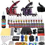 baratos Kits de Tatuagem para Iniciantes-Máquina de tatuagem Conjunto de Principiante - 2 pcs máquinas de tatuagem com 14 x 5 ml tintas de tatuagem, Profissional Fonte de Alimentação mini No case 2 x máquina de tatuagem liga para
