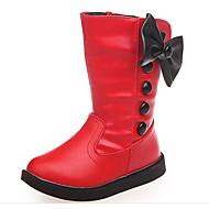 tanie Obuwie dziewczęce-Dla dziewczynek Buty PU Jesień Zima Śniegowce Buciki Kozaki do połowy łydki na Casual White Black Czerwony