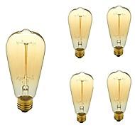 baratos Incandescente-5pçs 40W E26/E27 ST64 Branco Quente 2200-3000k K Retro Regulável Decorativa Incandescente Vintage Edison Light Bulb 110-130 V