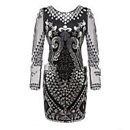 グレートギャツビー ギャツビー コスチューム 女性用 ドレス フラップワンピース ブラック グレー ブルー ビンテージ コスプレ ポリスター 3/4スリーブ