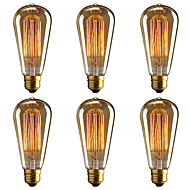 baratos Incandescente-BRELONG® 6pcs 40W E26 / E27 Amarelo 2000-2200k Decorativa Incandescente Vintage Edison Light Bulb 220-240V