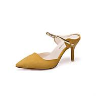 baratos Sapatos Femininos-Mulheres Sapatos Camurça Primavera / Outono Conforto Saltos Salto Agulha Dedo Apontado Preto / Marron / Amêndoa