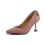 baratos Sapatos Femininos-Mulheres Couro Ecológico Primavera Conforto Saltos Salto Agulha Dedo Apontado Apliques Preto / Marron / Rosa claro