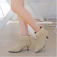 cheap Women's Boots-Women's Leather Winter Comfort Boots Chunky Heel Gray / Brown / Almond