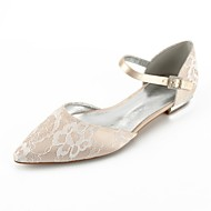 Women's Lace Summer Comfort / D'Orsay & Two-Piece Wedding Shoes Flat Heel Pointed Toe Ribbon Tie Silver / Champagne / Ivory