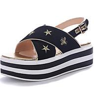 Žene Cipele Sintetika, mikrofibra, PU Ljeto Udobne cipele Sandale Creepersice za Kauzalni Crn