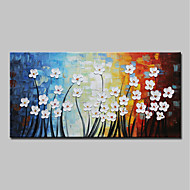 cheap Oil Paintings-Oil Painting Hand Painted - Abstract / Floral / Botanical Modern Canvas