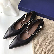 baratos Sapatos Femininos-Mulheres Sapatos Couro Primavera Verão Conforto Rasos Sem Salto Dedo Apontado Preto / Azul