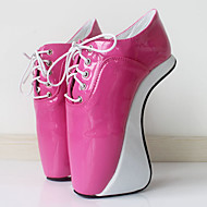 baratos Sapatos Femininos-Mulheres Sapatos Couro Ecológico Primavera Verão Inovador Saltos Calcanhar Heterotípico Ponta Redonda Dourado / Fúcsia / Prateado