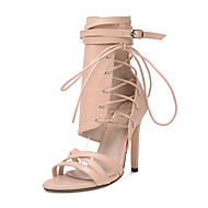 cheap Women's Sandals-Women's Shoes PU / Synthetic Spring & Summer Fashion Boots / Ankle Strap Sandals Stiletto Heel Open Toe Booties / Ankle Boots Stitching