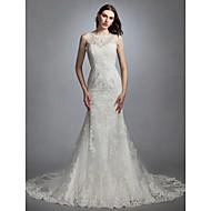 Sereia Decorado com Bijuteria Cauda Capela Renda / Tule Vestidos de casamento feitos à medida com Apliques de LAN TING BRIDE®