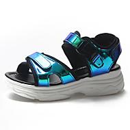 baratos Sapatos Femininos-Mulheres Couro Ecológico Verão Tira no Tornozelo Sandálias Sem Salto Presilha Prateado / Verde / Azul