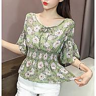 V-hals Dame - Blomstret I-byen-tøj Bluse
