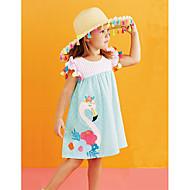 Dijete koje je tek prohodalo Djevojčice Flamingosi Prugasti uzorak / Cvjetni print / Color block Bez rukávů Haljina
