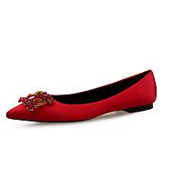 baratos Sapatilhas Femininas-Mulheres Sapatos Seda Primavera Verão Conforto Rasos Sem Salto Dedo Apontado Gliter com Brilho Vermelho / Azul / Amêndoa / Festas & Noite