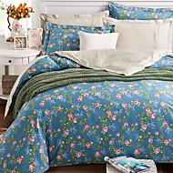 billige Blomstrete dynetrekk-Sengesett Blomstret Polyester / Bomull Reaktivt Trykk 4 deler