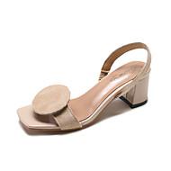 baratos Sapatos Femininos-Mulheres Sapatos Flocagem / Couro Ecológico Verão Conforto Sandálias Salto Robusto Preto / Vermelho / Khaki