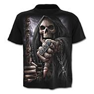 남성용 초상화 문자 해골 프린트 - 티셔츠, 스컬 과장된
