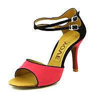 baratos Sapatilhas de Dança-Mulheres Sapatos de Dança Latina / Dança de Salão / Sapatos de Salsa Veludo Sandália Presilha Salto Personalizado Personalizável Sapatos de Dança Laranja / Fúcsia / Couro / Couro