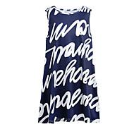 Dame Basale Gade A-linje Kjole - Bogstaver, Trykt mønster Over knæet