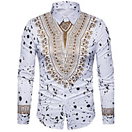 cheap -Men's Luxury / Vintage / Boho Cotton Slim Shirt - Tribal Print Classic Collar White XL / Long Sleeve
