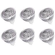 halpa -6kpl 4W 350lm MR16 LED-kohdevalaisimet 4 LED-helmet Teho-LED Koristeltu Lämmin valkoinen Kylmä valkoinen 12V