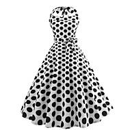 Dame Vintage Swing Kjole - Prikker, Trykt mønster Knælang