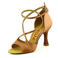 baratos Sapatilhas de Dança-Mulheres Sapatos de Dança Latina / Sapatos de Salsa Cetim / Seda Sandália / Salto Presilha / Cadarço de Borracha Salto Personalizado