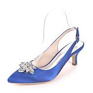 baratos Sapatos Femininos-Mulheres Sapatos Cetim Primavera Verão Plataforma Básica Sapatos De Casamento Salto Sabrina Dedo Apontado Pedrarias Azul Real / Champanhe