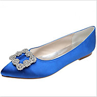 זול מוקסינים לנשים-בגדי ריקוד נשים נעליים משי / PU קיץ נוחות נעליים ללא שרוכים שטוח כחול כהה / אדום / כחול בהיר