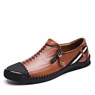 Hombre Zapatos Cuero de Cerdo Primavera Verano Otoño Confort Zapatos de taco bajo y Slip-On Paseo Combinación para Casual Beige Azul Kjmpe