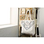 baratos Bolsas Tote-Mulheres Bolsas Tela de pintura Tote Ziper Branco