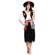 Pirates of the Caribbean Kostume Dame Halloween Karneval Maskerade Festival / Højtider Halloween Kostumer Udklædning Sort Ensfarvet Stribet Halloween Halloween
