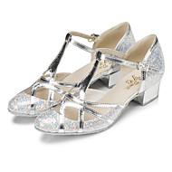 billige Moderne sko-Dame Moderne sko Glimtende Glitter Høye hæler Paljett Kubansk hæl Dansesko Gull / Sølv