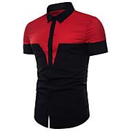 Homens Camisa Social - Esportes Básico Estampa Colorida Algodão Delgado / Manga Curta